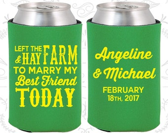 Green Wedding, Can Coolers, Green Wedding Favors, Green Wedding Gift, Green Wedding Decorations (348)