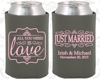 Charcoal Gray Wedding, Can Coolers, Charcoal Gray Wedding Favors, Charcoal Gray Wedding Gift, Charcoal Gray Party Gift (528)