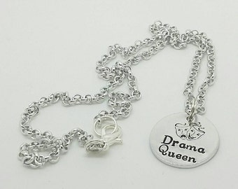 Stunning rolo chain necklace with handstamped Drama Queen pendant