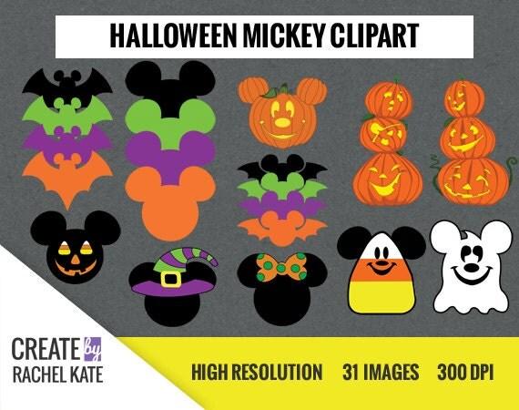 Disney Halloween Mickey Minnie Mouse Clipart Set for Digital