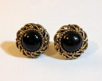 small, vintage, black/gold stud earrings