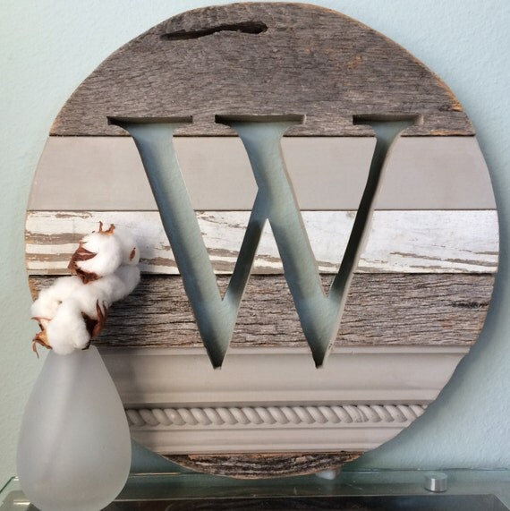 16 w monogram reclaimed wood sign initial wall art barn for Initial decorations for home