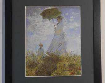 """Mounted and Framed - The White Lady with a Parasol Print - Claude Monet - 16"""" x 12"""""""