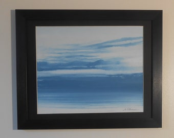 "Framed Original Watercolour Sunset by Albert Williams - 11"" x 14"" - Signed"