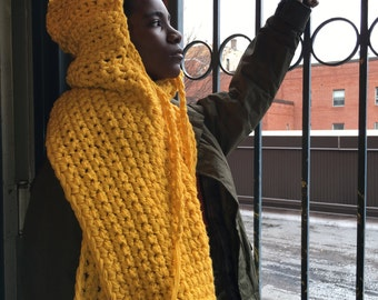 The Best and Perfect Golden Gift! For A Adult/Child/Newborn This Blazing Handmade Crocheted Infinity Scarf With a Hood and Spacious Pocket