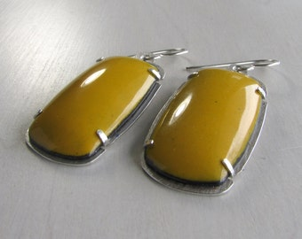 Yellow Enamel Earrings