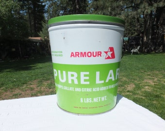 Extra Large 8 Pound Armour Pure Lard Can with Lid and Handle-Bright Lime Green