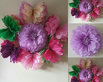 wedding party babyshower sweet 16 wall butterflys flower decorations tissue paper pompoms