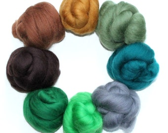 Forest Colour Pack 8 x 10g Super Soft 100% Merino wool tops