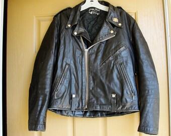 Vintage Black Leather Motorcycle / Biker Jacket MENS Size 40 Medium 1980s 1990s 80s 90s distressed HOG pin