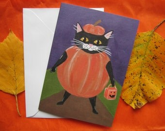 Black Cat Trick or Treating Card, Black Cat Greeting Card, Black Cat Halloween Greeting Card by Amber Maki
