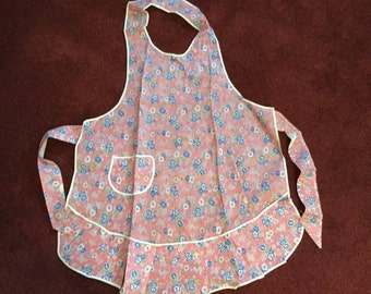 Vintage Calico Apron 1950's Hankie Thin Cotton Full Body NEW VINTANGE
