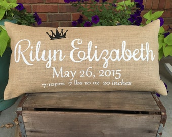 Painted Burlap Pillow, Birth Announcement