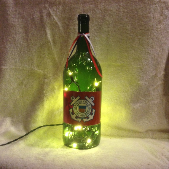 items similar to coast guard 1 5 liter lighted wine bottle on etsy
