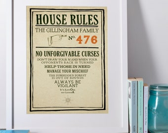 Harry Potter Personalised House Rules Poster Print - Hogwarts, Professor Umbridge