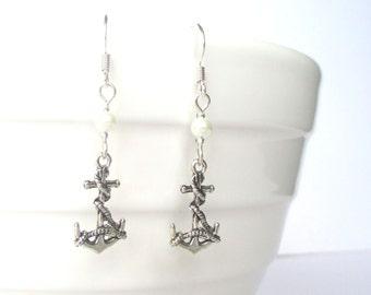 Tiny anchor earrings - Tiny pearl earrings - Nautical gift - Anchor jewellery - Nautical earrings - Sailor - Stocking stuffer - UK seller
