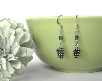 Pinecone earrings - Christmas earrings - Pine cone earrings - Rustic Christmas - Winter wonderland - Stocking filler - UK