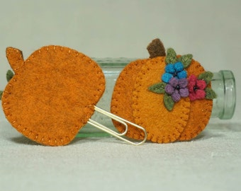 Wool Pumpkin Bookmark with Gold Paperclip, Halloween Business Card Holder, Thanksgiving Gift Card Holder *Ready to ship