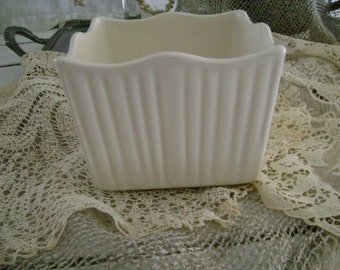 Vintage Shabby Marked Square White Pottery Planter ~~ Made In The USA