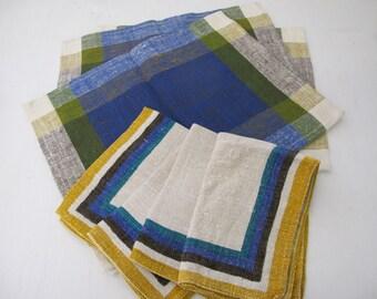 Mid Century Scandinavian Place mats Linen Danish Modern Place mats Napkin Set