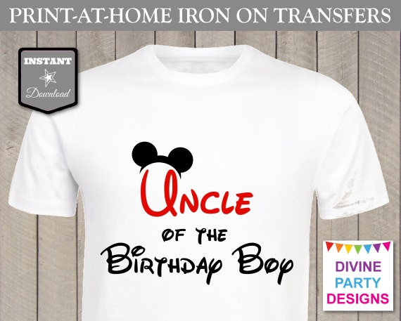 Instant download print at home mouse uncle of the birthday for Instant t shirt printing