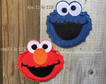 cookie monster Iron on Patch cookie monster Iron on Applique elmo iron on patch Sesame Street patch cookie monster patch elmo patch