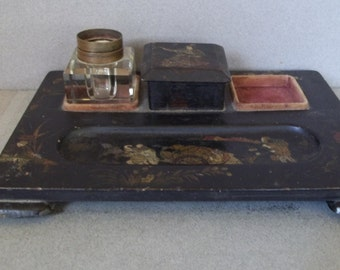 Victorian Era Chinese Lacquered Desk Set - 1800s Chinese Lacquered Desk Set - Antique Lacquered Desk Set