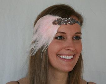 PINK headband, Great gatsby headpiece, 1920s dress, serre tete headband Mariage Gatsby Anne 20 Art Deco Feather Headpiece