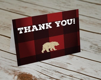 Lumberjack Thank You Cards. Birthday Thank Yous. Plaid Lumberjack Design. Red plaid and bear Thank Yous