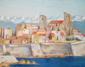 Mediterranean Landscape Original Signed Framed Painting, Antibes, South of France landscape.