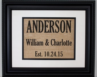 Personalized Burlap Print, Wedding Gift, Anniversary Gift, Engagement Gift, Burlap Sign with Family Name with Year Established