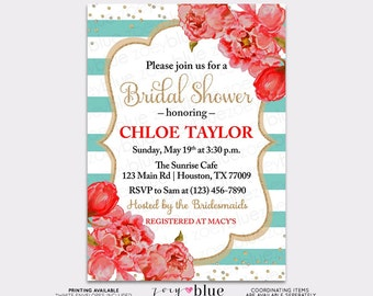 Lemon Bridal Shower Invitation Turquoise Yellow Watercolor