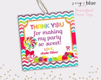 Candy Shop Favor Tags - Sweet Shoppe Lollipop Printable Thank You Tags - Candy First Birthday Baby Shower Candy Buffet- Digital File