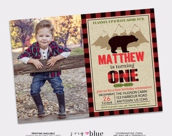 Lumberjack Birthday Invitation - Buffalo Plaid Wild Bear Woodland Fall Boy First Birthday Christmas Winter Woods- Printable Digital File
