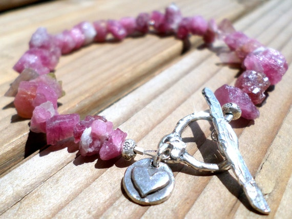 Raw Pink Tourmaline and Sterling Silver Charm Bracelet