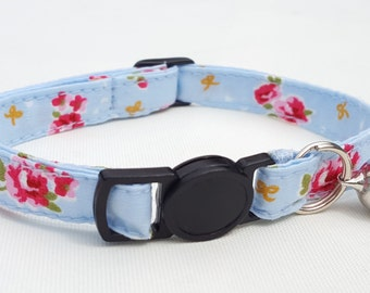 Cat Collar - blue and pink rose fabric design