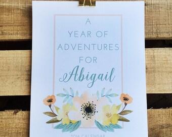 Personalized Floral 2016 Calendar