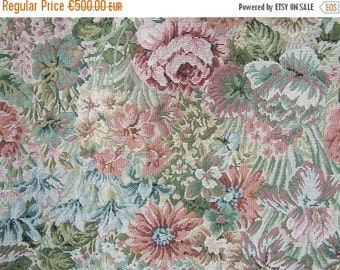 SALE Never used french vintage flower tapestry upholstery fabric. Spring colors. Pastel pink green blue. NOS. French shabby chic. Curtain fa