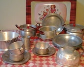 CAMPING Playset Children 1950 Aluminium French Tea Kettle, Cups and Saucers, Milkpot, Plates, Collander, Pots and Pans...and more..Kid Toys