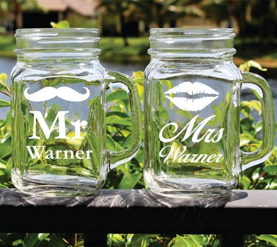 Mr and mrs mason jar glasses personalized mason jars mr and - Mason jar goblets ...