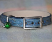 Ella Selection Light Blue with motif Boarder Leather Cat Collar