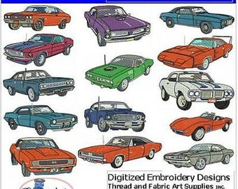 Embroidery Design CD - Muscle Cars(1) - 14 Designs - 9 Formats - Threadart