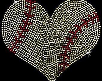 Rhinestone Transfer - Hot Fix Motif - Softball Heart