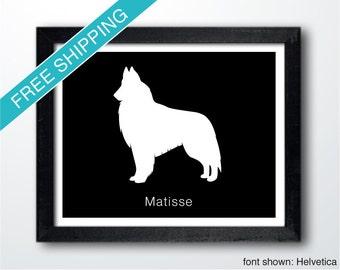 Personalized Belgian Tervuren Silhouette Print with Custom Name - Tervuren art, dog home decor, dog gift, dog wall art