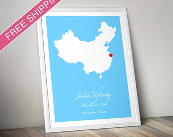 Personalized China Wedding Gift : Custom Location and Map Print - Engagement Gift, Housewarming Gift - Wedding guest book poster
