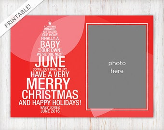 Christmas Tree Pregnancy Announcement with Photo - Red Holiday Card - New Baby Announcement - Digital File