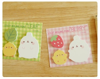 Molang Point Sticky Note (Leaf, Berry) - memopad notepad