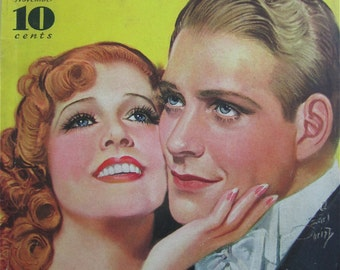Original November 1935 Jeanette MacDonald & Nelson Eddy Modern Screen Magazine Cover By Earl Christy - Hollywood's Golden Age