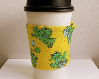 Coffee Cup Sleeve Cozy Take Out Cup Cozy Froggie Coffee Cup Sleeve Fabric Coffee Cup Sleeve Hand Made