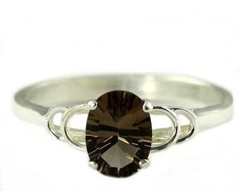 Summer Sale, 30% Off, SR300, Smoky Quartz, 925 Sterling Silver Ring